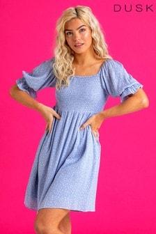 Dusk Ditsy Dot Puff Sleeve Tea Dress