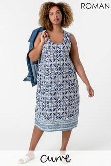 Roman Curve Tile Print Cocoon Dress
