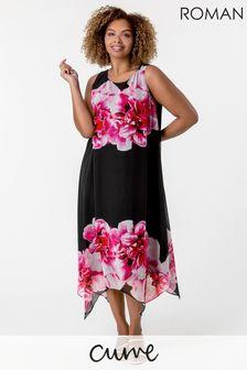 Roman Curve Floral Asymmetric Chiffon Dress