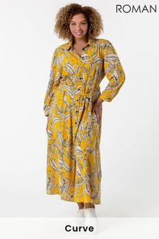 Roman Curve Tropical Print Shirt Dress