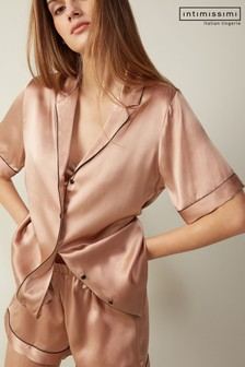 Intimissimi Short-Sleeved Button-Up Silk Satin Shirt with Contrasting Trim
