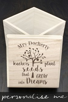 Personalised Teachers Plant Seeds Cube Box by Treat Republic