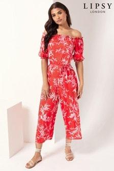Lipsy Printed Bardot Jumpsuit