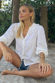 Lipsy Broderie Ruffle Collar Blouse