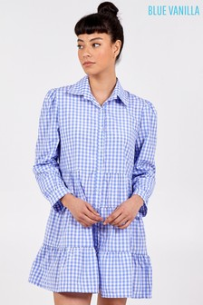 Blue Vanilla Gingham Tiered Dress