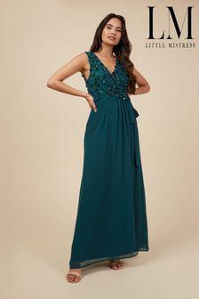 Little Mistress Tie Maxi Embellished Dress