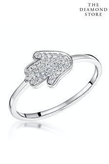 The Diamond Store Stellato Collection Hamsa Diamond Ring 0.09ct in 9K