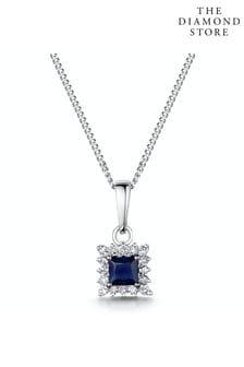 The Diamond Store Stellato Sapphire and Diamond Pendant Necklace in 9K White Gold