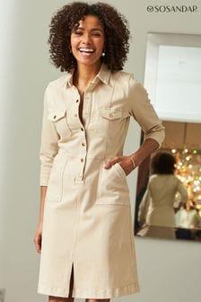 Sosandar Popper Front 3/4 Sleeve Stretch Denim Dress