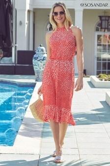 Sosandar Halterneck Spot Sun Dress