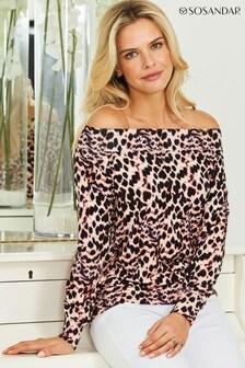 Sosandar Animal Print Super Soft Premium Bardot Top