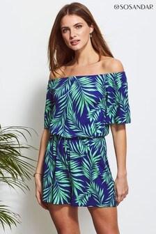 Sosandar Palm Print Jersey Playsuit