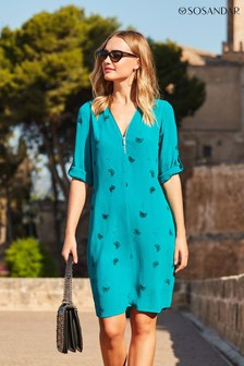 Sosandar Dandelion Print Zip Neck Shift Dress