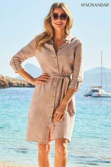 Sosandar Linen Shirt Dress