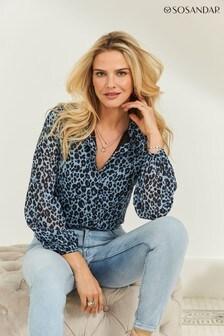 Sosandar Animal Print Blouson Sleeve Shirt