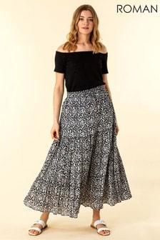Roman Animal Print Crinkle Maxi Skirt