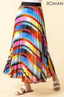 Roman Rainbow Striped Pleated Maxi Skirt