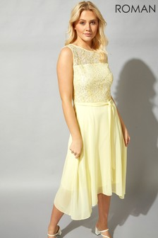 Roman Lace Detail Fit And Flare Dress