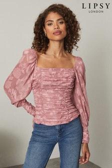 Lipsy Printed Shirred Long Sleeve Top