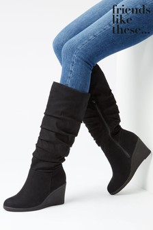 Friends Like These Long Ruched Wedge Boot