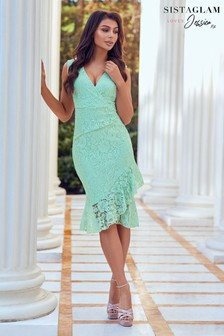 Sistaglam Frill Hem Lace Dress