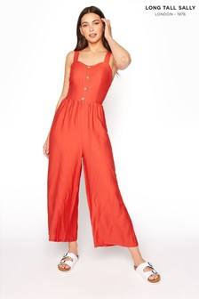 Long Tall Sally Button Front Crop Jumpsuit
