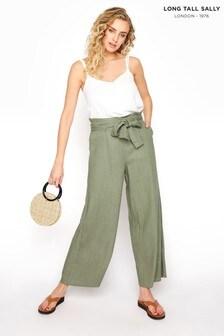 Long Tall Sally Linen Mix Tie Waist Crop Trousers