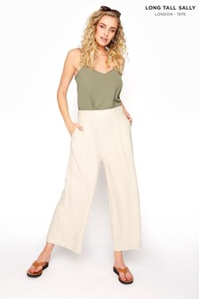 Long Tall Sally Linen Mix Shirred Crop Trousers