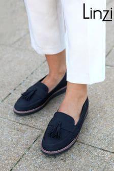 Linzi Samson Classic Faux Nubuck Slip On Loafer With Tassle Trim