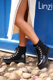 Linzi Wynter Patent and Faux Shearling Hiker Style Boot