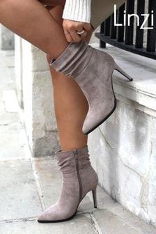 Linzi Eclipse Suede Ruched Pointed Stiletto Boot Heel