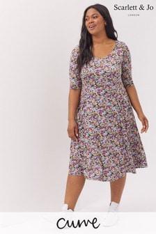 Scarlett & Jo Vintage Daisy Print Fit and Flare Midi Dress