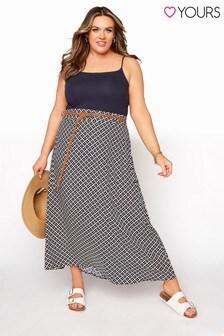 Yours Mono Geometric Maxi Skirt