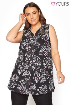 Yours Frill Front Sleeveless Shirt Mono Floral