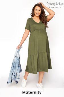 Bump It Up Maternity V-Neck Tiered Dress