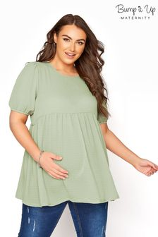 Bump It Up Maternity Textured Puff Sleeve Smock Top