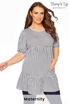 Bump It Up Maternity Gingham Tiered Smock Top