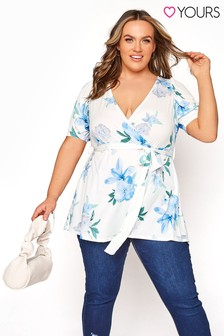 Yours Puff Sleeve Floral Wrap Top