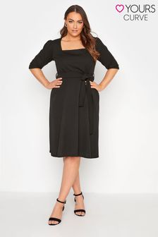 Yours Square Neck Fit and Flare Dress
