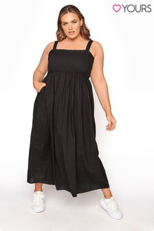 Yours Shirred Bust Strappy Maxi Dress