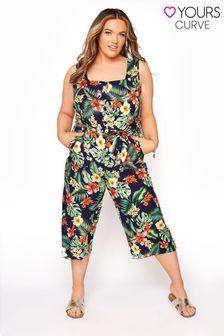 Yours Tropical Button Crop Jumpsuit