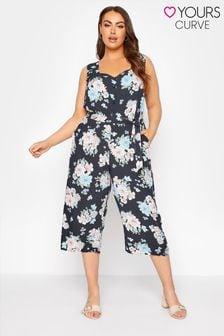 Yours Floral Button Crop Jumpsuit