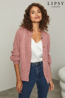 Lipsy Knitted Crew Neck Cable Cardigan