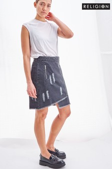 Religion Mini Denim Skirt With Zip Detailing