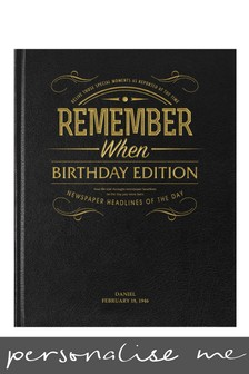Personalised Daily Mirror Birthday Edition Newspaper Book Black Leather Cover by Signature Book Publishing