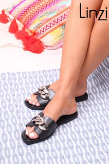 Linzi Faux Leather Slider With Gold Chain Detail