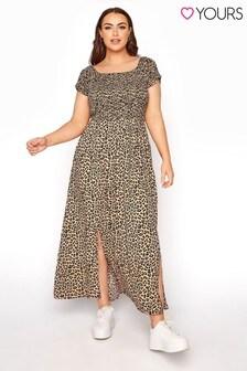 Yours Shirred Bardot Animal Maxi Dress