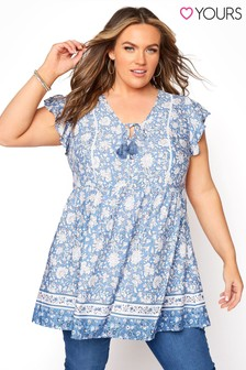 Yours Blue Floral Border Short Sleeve Tunic