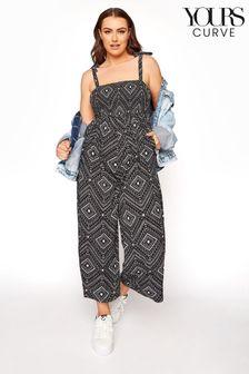 Yours Shirred Bardot Aztec Jumpsuit