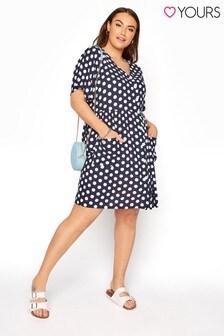 Yours Drop Pocket Polka Dot Peplum Dress